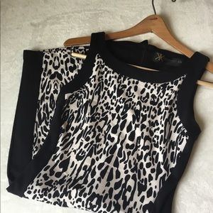 Kardashian Kollection Ponte Knit Leopard Dress